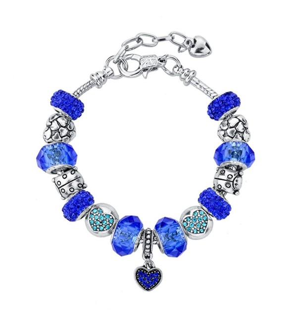 Long Way Silver Plated Snake Chain Blue Glass Bead Heart Charm Bracelet - White - CN11WW4ZTCN