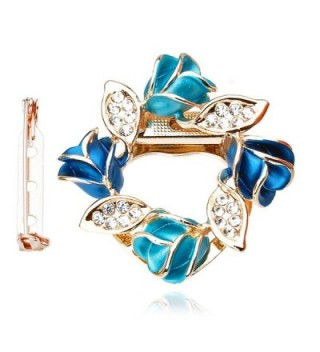 Merdia Women's Flower Scarf Clip Brooch Beautiful Scarf Buckle Ring with Created Crystal - CX182KM0LD7