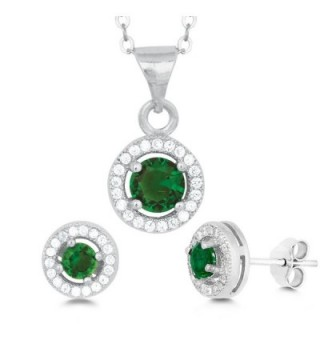"""Sterling Silver Micro Pave CZ Halo Stud Earrings and Pendant Set with 18"""" Chain - Emerald - C211NW2LUZT"""