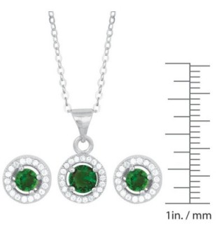 Sterling Lab Created Emerald Earrings Pendant in Women's Jewelry Sets