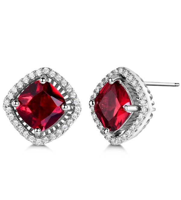 GULICX Women Stud Earrings One Pair White Silver- Tone Square Shaped Gem Red Studs Garnet Color - CA11YLAZ28L