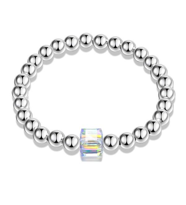 Angelady Stretch Bracelet Swarovski Crystal - white gold plated - C2183XNNRGU