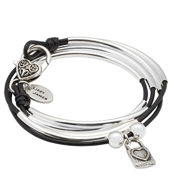 Mini Friendship Wrap Bracelet with Heart Lock Charm in Natural Black Leather by Lizzy James - CZ12K37S837