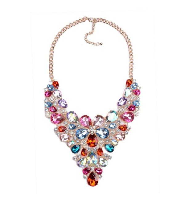 Statement Necklaces Crystal Multicolor Waterdrop - Multicolor - CI1887MC9X6