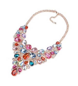Statement Necklaces Crystal Multicolor Waterdrop in Women's Choker Necklaces