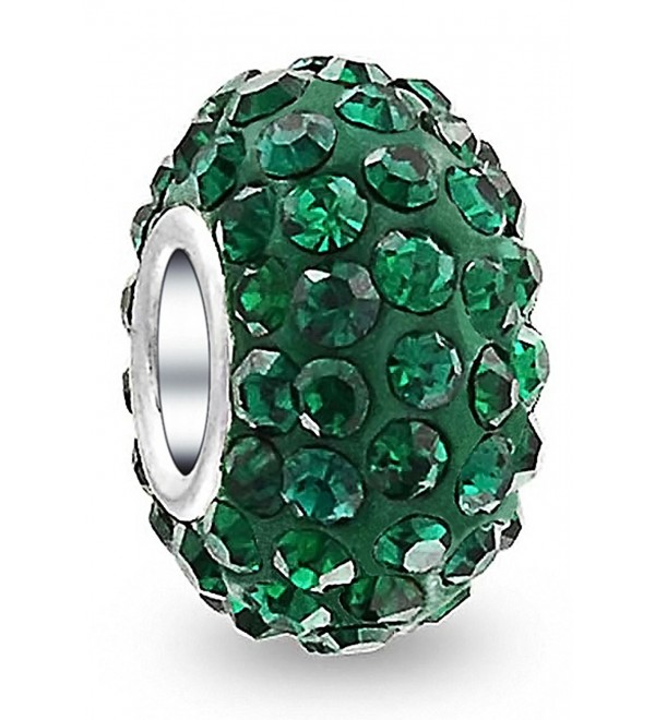 Bling Jewelry Forest Green Sterling Silver Crystal Bead Charm - CO116AW5DCX