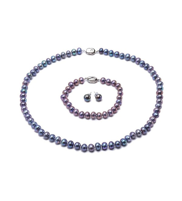JYX Near-round 7-8mm Blue Freshwater Cultured Pearl Necklace Bracelet and Earrings Jewelry Set - C412N78VT8L