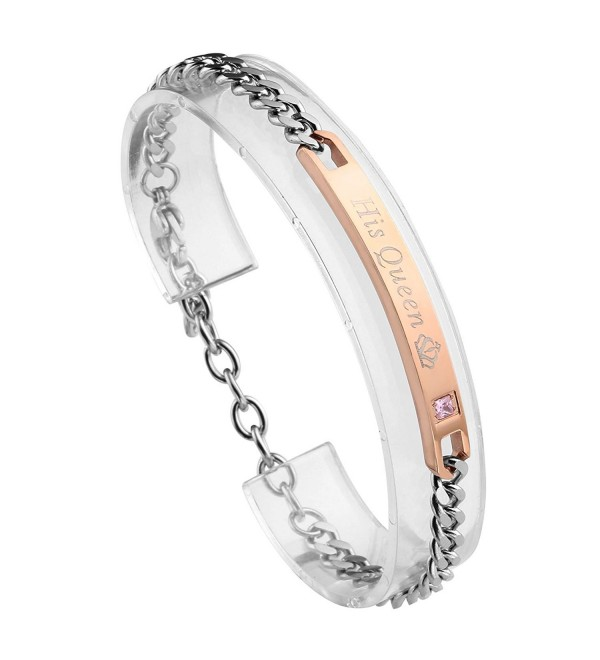 JOVIVI Stainless Matching Couples Bracelet - Womens(His Queen) - CD185RLSRWN