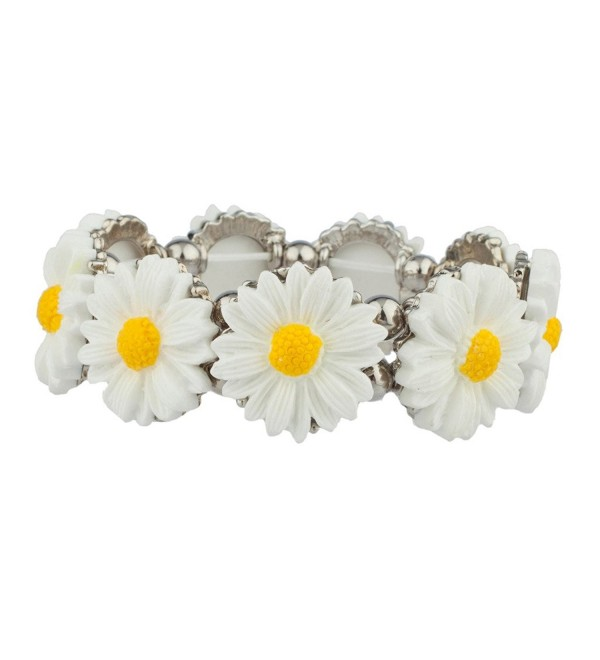 Lux Accessories Sunflower Floral Flower Statement Stretch Bracelet - CM123FIOGYV