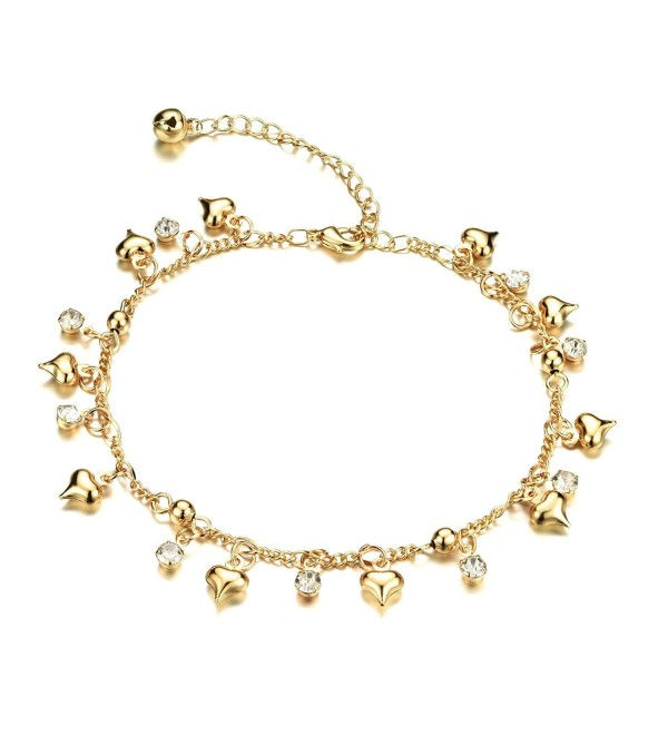 "Fate Love Jewelry Women's 18k Gold Plated Crystal Small Bell Foot Chain Anklet Adjustable Fit 8"" to 10.2"" - CA12HDBOCBN"
