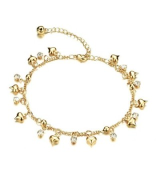 """Fate Love Jewelry Women's 18k Gold Plated Crystal Small Bell Foot Chain Anklet Adjustable Fit 8"""" to 10.2"""" - CA12HDBOCBN"""