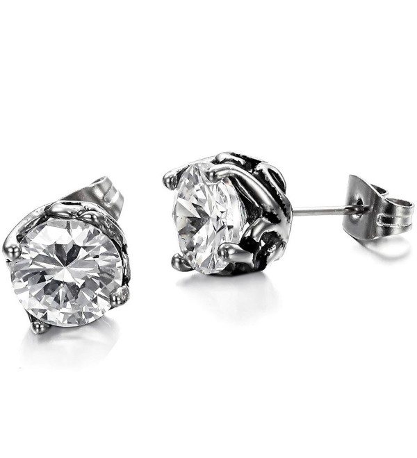Elove Jewelry Vintage Bud Stainless Steel Cubic Zirconia Earrings - CB11LG8LE2F