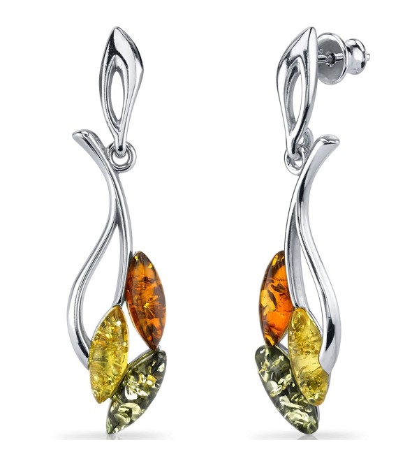 Baltic Amber Leaf Dangle Earrings Sterling Silver Multiple Color - CR11Y5MAADB