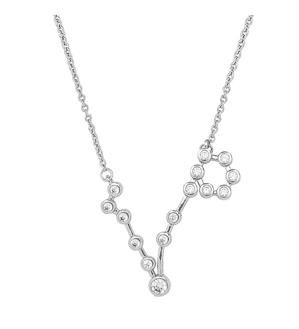 Sterling Forever Women's Zodiac Necklace - &lsquoWhen Stars Align' Constellation Necklace- Silver Plated - CG182S8C0UO