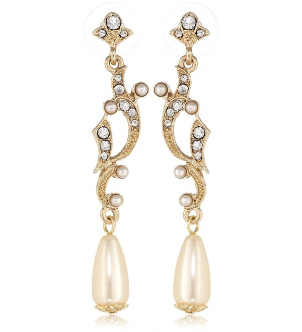 "Downton Abbey ""Boxed"" Gold-Tone Simulated Pearl and Crystal Drop Earrings - CO11I5Z4QAX"