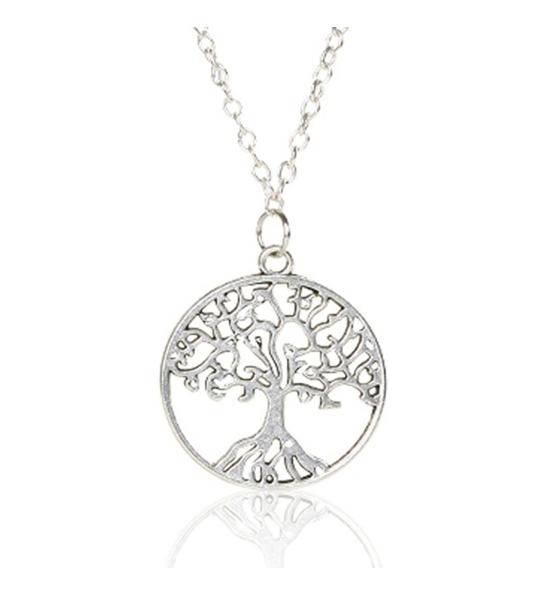 Tree of life Necklace Family Tree Pendant Necklace Sterling Silver Chain Necklace for Women - Silver - CW188CXY7YR
