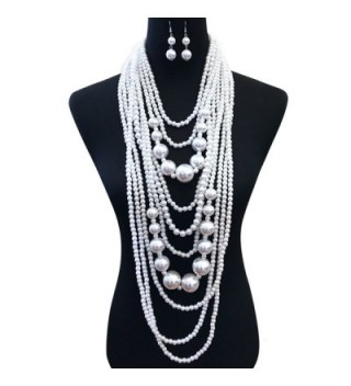 Women's Chunky Multi-Strand Simulated Pearl Statement Necklace and Earrings Set in Cream Color - CG18093U0QY