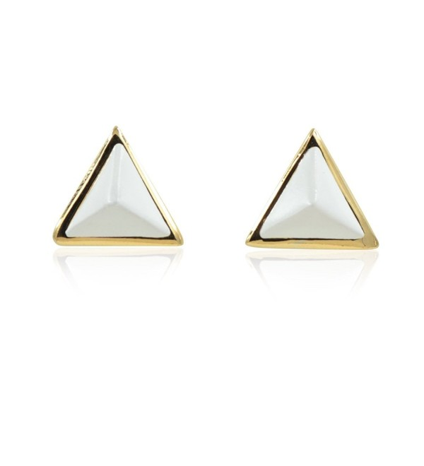 White Pastel Triangle Stud Earrings Gold Finishing - CA12F6FPE8X