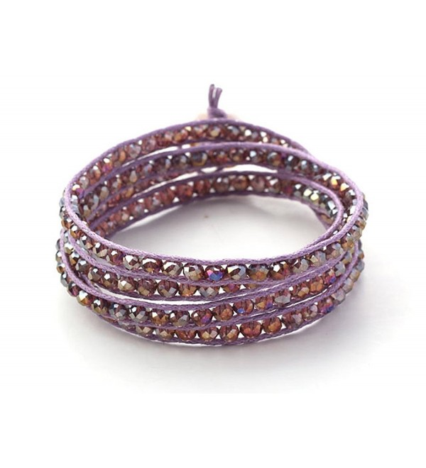 Purple Pink Crystal Wrap Bracelet Amethyst Color Handmade Woven Bangle - CN123IZAMH5
