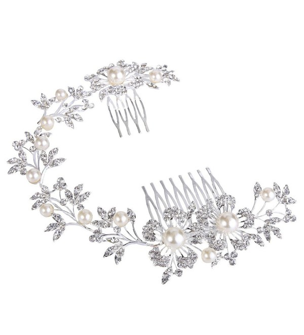 BriLove Women's Bohemian Ivory Color Simulated Pearl Flower Crystal Bride Flexible Hair Comb Headband - C911YLIJ4V5