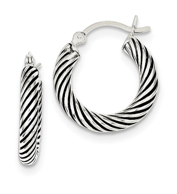 Sterling Silver Rhodium Plated 0.5IN Long 3.25mm Antiqued Open Twist Hoop Earrings - C3119CBD9OJ