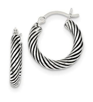 Sterling Silver Rhodium Plated 0.5IN Long 3.25mm Antiqued Open Twist Hoop Earrings - C3119CBD9OJ
