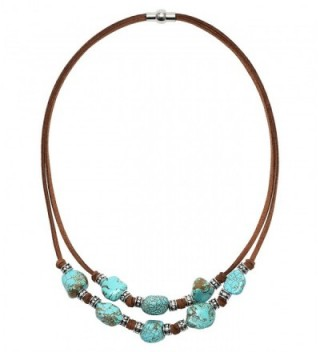 Yunhan 2 Strands Turquoise Choker Necklace with Genuine Brown Suede Cord Jewelry for Women - C217YIY6ILA