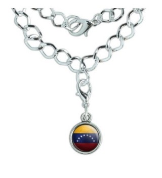 Silver Plated Bracelet with Antiqued Charm Soccer Futbol Football Country Flag I-Z - Venezuela Flag Soccer Ball - C512N5GEKQR