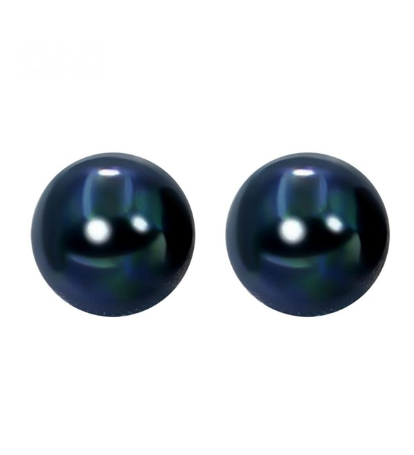 Sterling Silver 8mm Dyed Dark-blue Freshwater Pearl Studs Earrings - CV1893XWS47