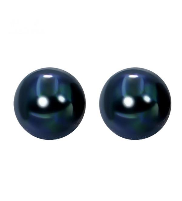 Sterling Silver 8mm Dyed Dark-blue Freshwater Pearl Studs Earrings - CV1893XWS47