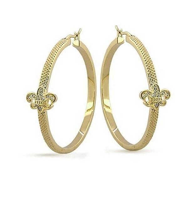 Bling Jewelry Fleur de lis Gold Plated Brass Hoop Earrings - CD1158RHOXN