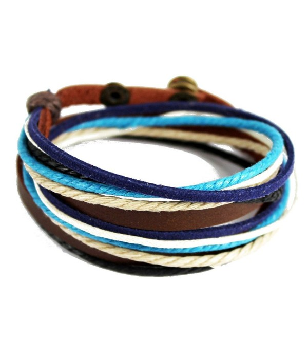 Handmade Multilayer Wraps Colorful Cords Leather Bracelet Snap Cuffs - blue - CT12IA3SF2J