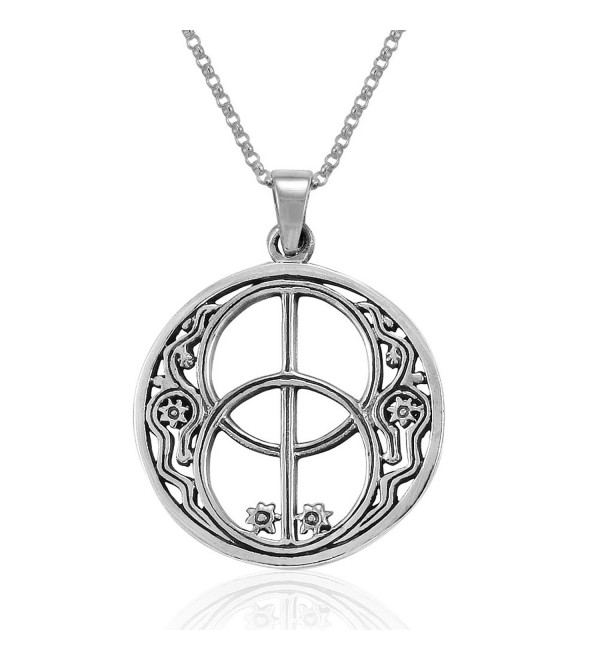 MIMI Sterling Silver Sacred Chalice Well Symbol of Avalon in Glastonbury Pendant Necklace- 18 inches - CV1275VCO1L