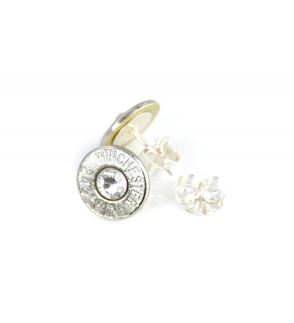 Classy- Dainty Winchester .243 NICKEL Plated Brass Bullet Head Stud Earrings with Swarovski Crystals - CG11BWBLTIZ