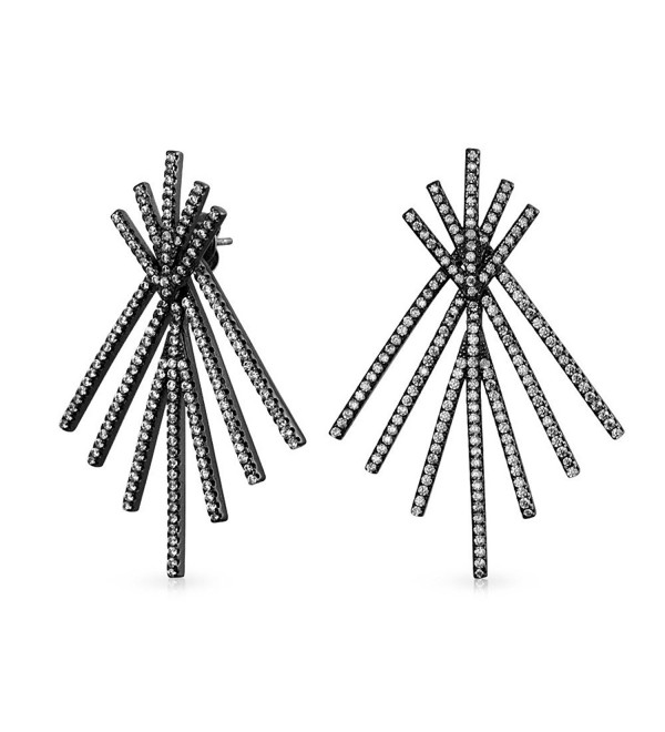 Bling Jewelry Pave CZ Double Linear Fan Black Rhodium Plated Ear Jacket Earrings - CE128A832TZ