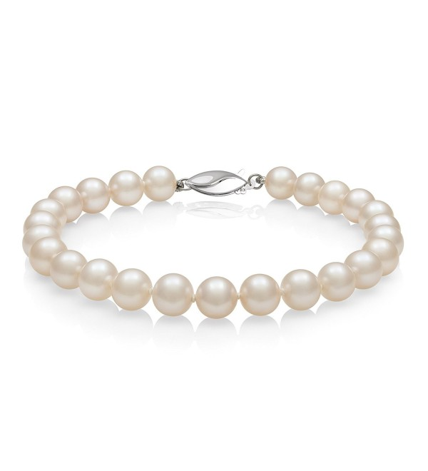 Sterling Silver AA Quality White Cultured Freshwater Pearl Strand Bracelet - Pearl-size:6.0-7.0mm - CD11CR47D8V