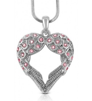 Crystal Guardian Shaped Pendant Necklace - Pink - CM11O7ED54F