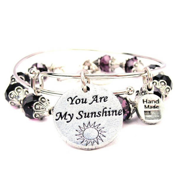 You Are My Sunshine Collection Crystal Bangle Set in Plum Purple - CF11VX5EP0T
