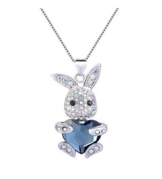 EleQueen Silver tone Necklace Swarovski Crystals - Denim Blue - CV1268YDM9J