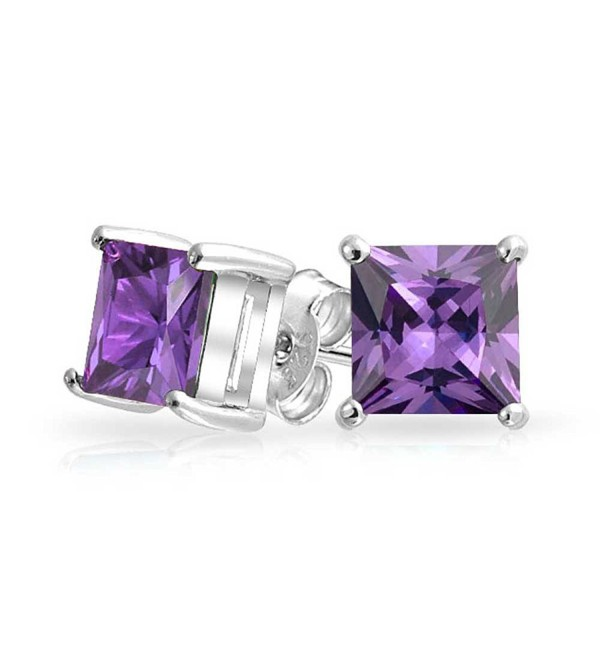 Bling Jewelry Square CZ Princess Cut Simulated Amethyst February Birthstone Stud earrings 925 Sterling Silver 7mm - C411HNTZ7Y7