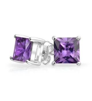 Bling Jewelry Square CZ Princess Cut Simulated Amethyst February Birthstone Stud earrings 925 Sterling Silver 7mm - C411HNTZ7Y7