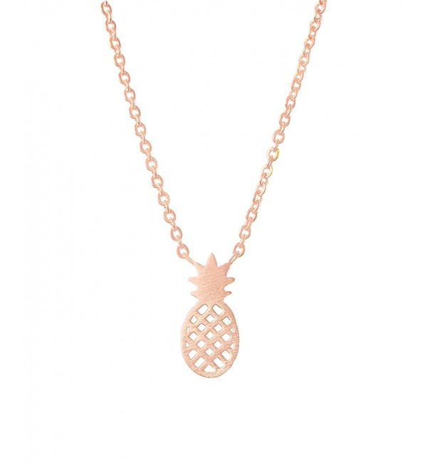 Altitude Boutique Pineapple Necklace- Hawaii Fruit Necklace- Tropical Necklace for Women - Rose Gold - C917YZ6A3U5