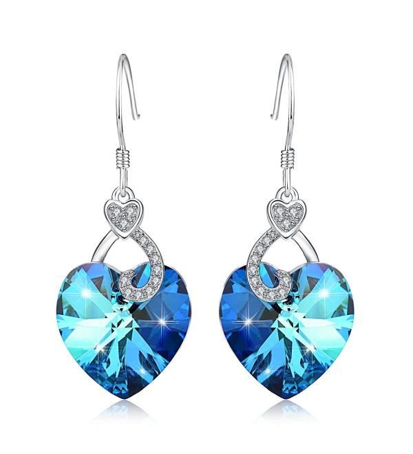 YFN Ocean Blue Heart Dangle Drop 925 Sterling Silver Women Earrings Jewelry - C41824ZL05E
