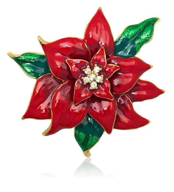 Akianna Swarovski Element Crystals Poinsettia Brooch Pin - CX1271LIR5H