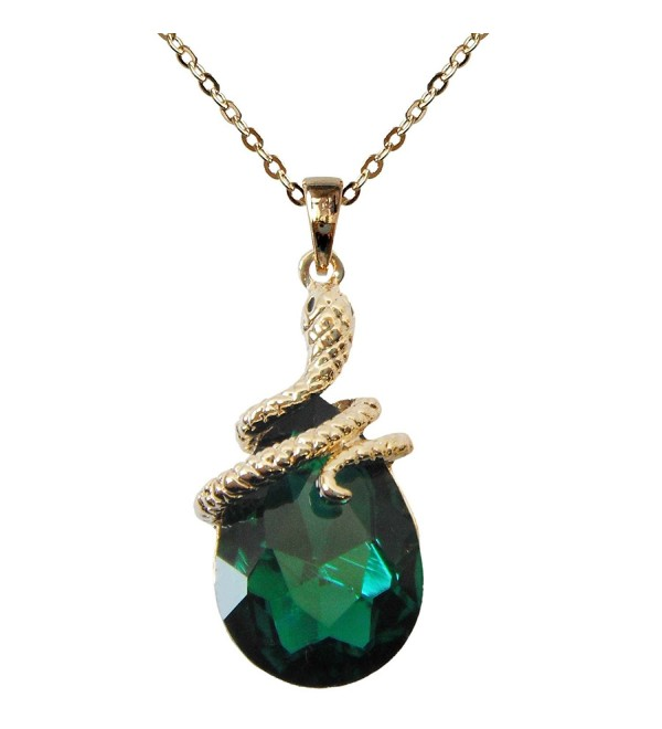 "Navachi 18k Gold Plated Water Drop Crystal Green Zircon Az6003p Snake Pendant Necklace 16""+2"" - CJ11VCGQUQB"