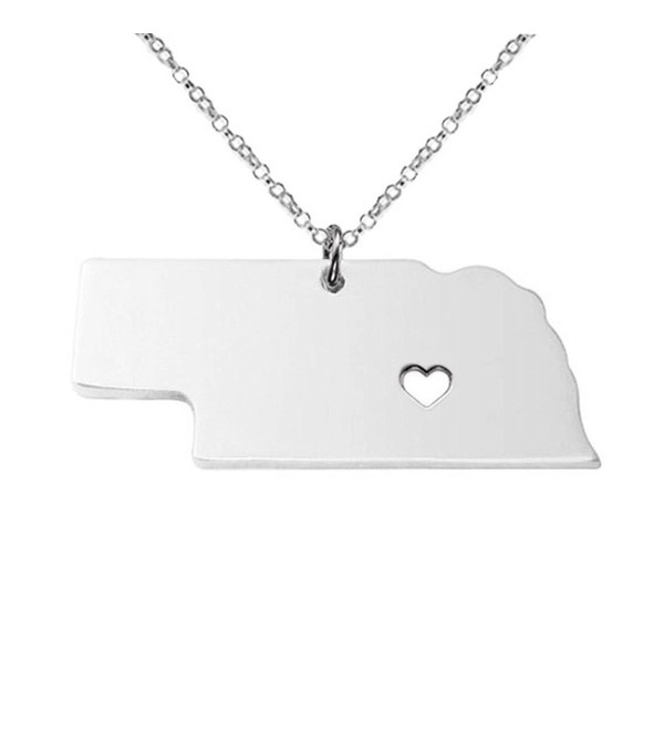 Silver Tone Stainless Steel Map Pendant Necklace- We Love Nebraska- NE - CR12O1VI7CB