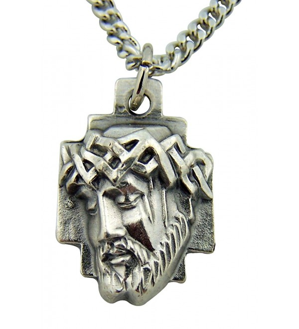 Silver Toned Base Crown of Thorns Head of Jesus Christ Cross Medal- 1 Inch - C8110AECTZB
