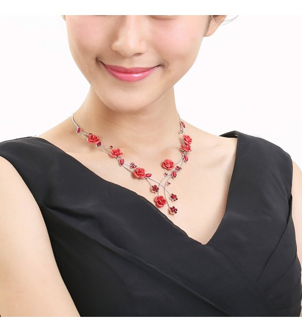 Glamorousky Elegant Rose Necklace with Red Austrian Element Crystals and Crystal Glass (500) - CB118SOFFGL