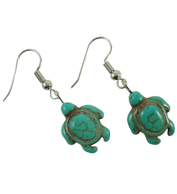 Turquoise Turtle Earrings - Turtle Shape Earrings - Hawaiian Sea Turtle Earrings - Drop Dangle Earrings - CF1297GQ693