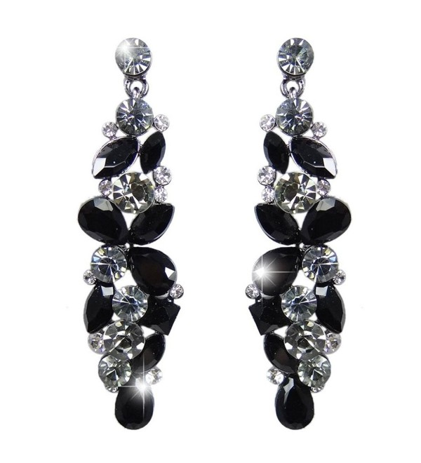 EVER FAITH Bridal Tear Drop Flower Cluster Dangle Earrings Crystal Rhinestone - Black Black-Tone - CO11GYMONNP